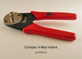 Crimper, 4-way indent for crimping pins & sockets shown above.